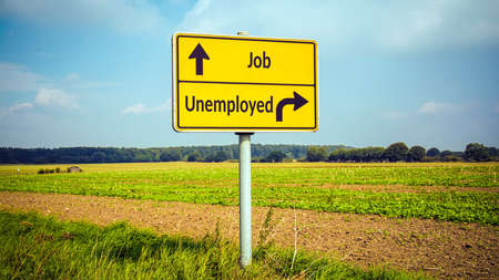 Street Sign the Direction Way to Job versus Unemployed Stock Photo