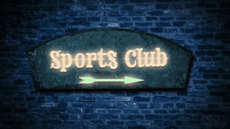 Street Sign the Direction Way to Sports Club Stock Photo