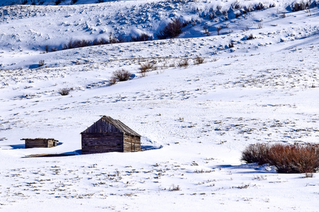 Snow covered Colorado hillside with cabin in Winter