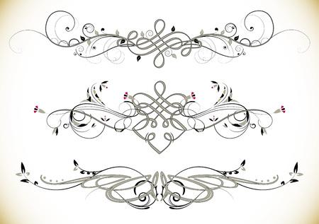 tatouage fleur: Remous floral ornements vintage Décoration Vecteur