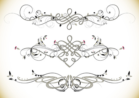 retro flower: Swirl Floral Vintage Ornaments Decoration Vector