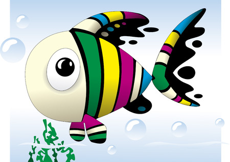 baby swim: Baby Fish cute colorful cartoon Vector illustration