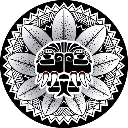 tribal dragon: Maya snake deity vector illustration Plumed Snake