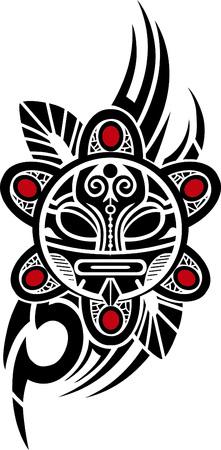 polynesian: Taino Sun Tribal Vector illustration