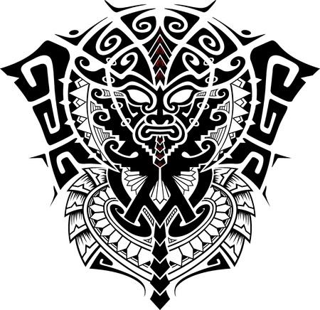cultura maya: Máscara tribal Dios con Alfa y Omega ilustración simbolo