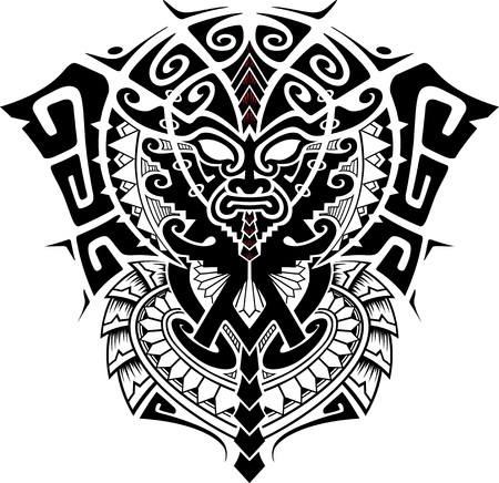 maori: Tribal God Mask with Alpha and Omega symbol vector illustration Illustration