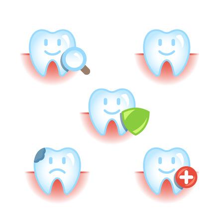diseased: Set of 5 icons of healthy and diseased teeth