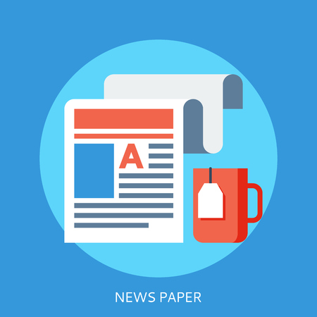 news paper: News paper tape and tea cup made in flat style