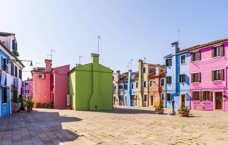 colorful facades on the Isle of Burano in Venice in Veneto, Italy