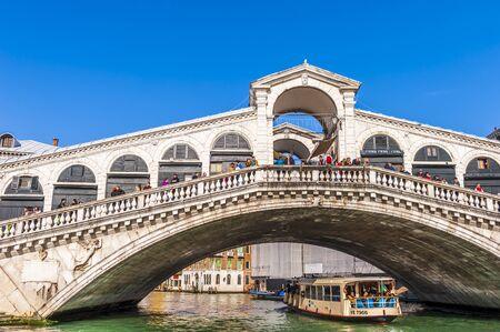 Detail of the Rialto Bridge over the Grand Canal in Venice in Veneto, Italy