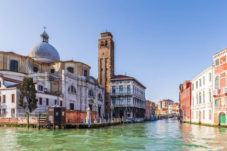 The Grand Canal with its typical facades in Venice, Italy