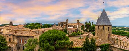 On the ramparts of the City of Carcassonne in the Aude in Occitanie, France