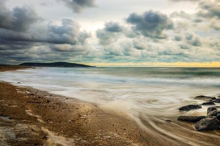 Sète beach in winter, in Hérault in Occitanie in France