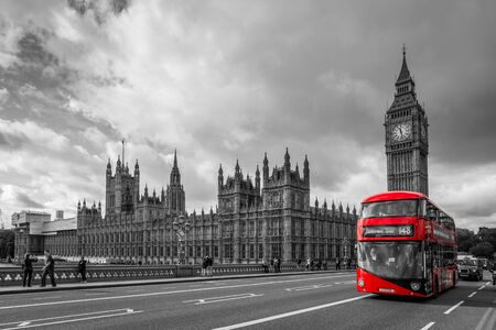 Houses of Parliament and a bus, London in UK