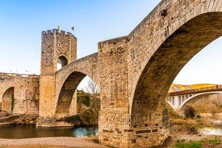 Besalu medieval fortified bridge in Catalonia, Spain