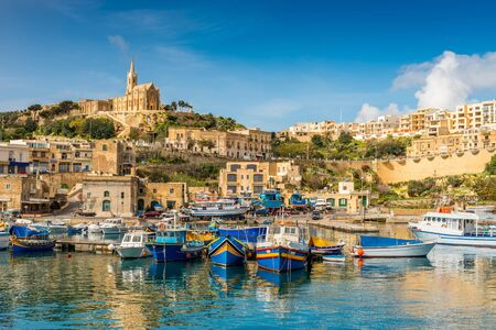 Mgarr fishing and ferry port in Gozo, Malta