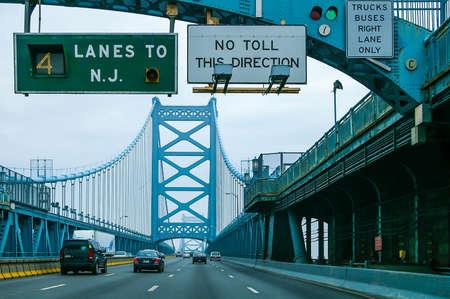 The Benjamin Franklin Bridge in Philadelphia, Pennsylvania, US Stock Photo