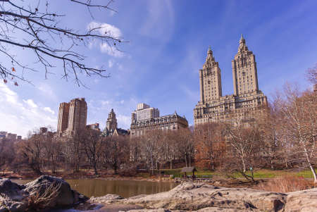 Facades of West Central Park from the park in winter in Manhattan in New York in the USA