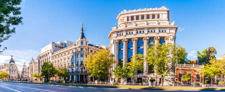 Grand boulevard and building typical of Madrid in Espana