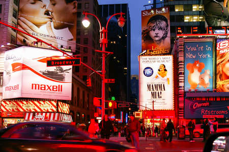 Commercials of theaters in Times Square on Broadway in New York at night, USA Editorial