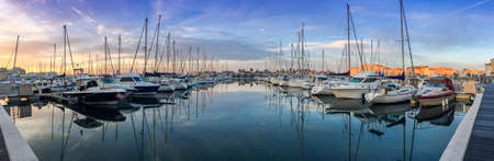 Sailboats in the marina of Cap d'Agde, in Herault, in Occitania, France Banque d'images