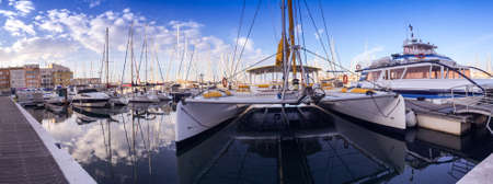 Marina and boats in Cap d'Agde in Occitanie, in Hérault, France