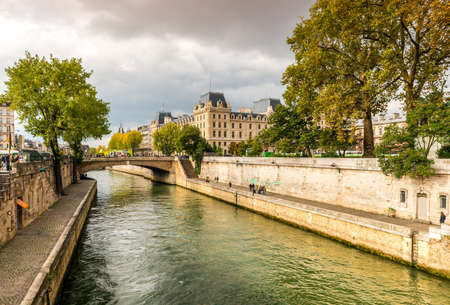 Banks of the Seine river in Paris, France