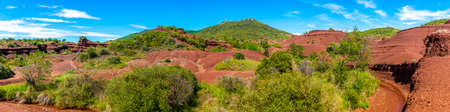 landscape of canyons and red earth near Lake Salagou in the Hérault in Occitanie, France
