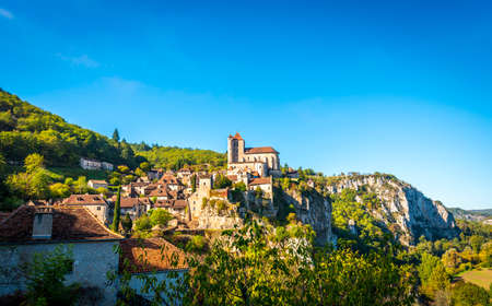 Beautiful medieval village of Saint-Cirq-Lapopie in the Lot in Occitanie, France