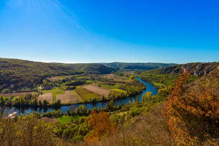 The Lot river near Saint Cirq Lapopie, in the Lot, Occitanie, France