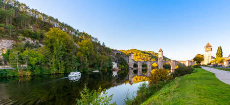 Magnificent medieval bridge of Valentre in Cahors over the Lot river, in the Lot, in Occitanie, France Stock Photo
