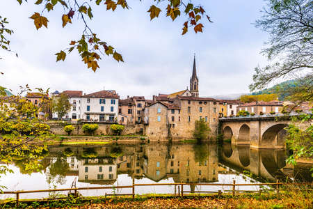Fall colors on the river Aveyron in Saint Antonin noble Val in Occitania, France Stock Photo