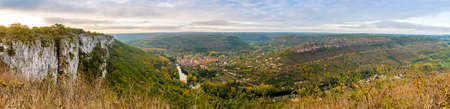 Cliffs overlooking the medieval village of Saint-Antonin-Noble-Val in Occitanie, France Stock Photo
