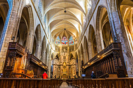 Interior of the Saint-Etienne cathedral in Toulouse in Occitanie, France Editorial