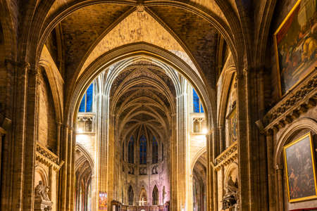 Interior of Saint Andrew Cathedral in Bordeaux, New Aquitaine, France Editorial