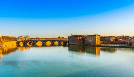 The Pont Neuf and the Hotel Dieu on the Garonne, in Toulouse, Occitanie, France Editorial