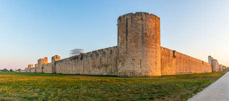 Ramparts south and east, d'Aigues-Mortes in the early morning, in the Gard in Occitanie, France Editorial