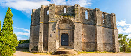 View of Saint Félix de Monceau abbey in Gigean in Hérault in Occitanie, France Stock Photo