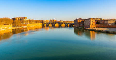 The River Garonne and the New Bridge in Toulouse in Occitanie, France