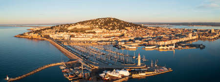 Aerial panorama of the port of Sète at sunrise in Hérault in Occitanie, France