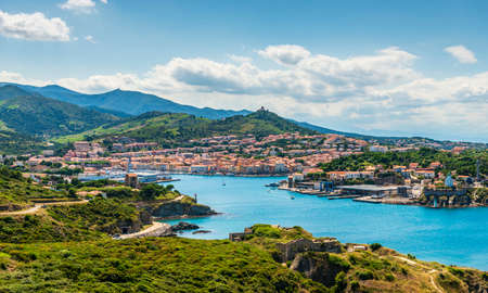 Panorama of Port-Vendres on a summer day, in the Pyrénées-Orientales in Catalonia, in the Occitanie region, France
