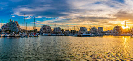 Panoramic summer morning in the city of La Grande Motte in Occitanie, France