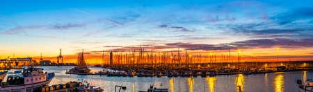 Beautiful sunrise in the fishing harbor of Sète in Occitanie, France