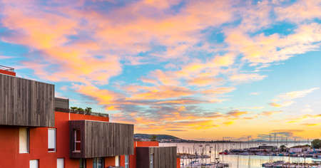Sunset on the marina of Balaruc-les-Bains, from a residence, in Herault in Occitanie, France Editorial