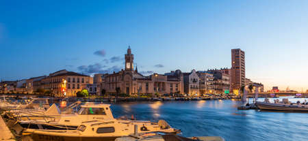 A superb sunrise with a very colorful sky in Sète in Hérault in Occitanie, France Editorial