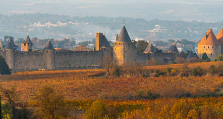 City of Carcassonne in the Aude in Occitanie, France