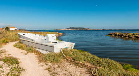 Boat on the Thau pond in the Hérault in Occitanie, France Stock Photo