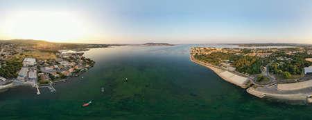 Aerial view of the Thau lagoon from Balaruc, Occitanie, France