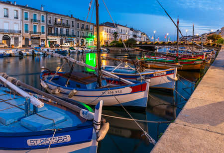 Quays and the royal canal in Sete, in the early morning, in Herault, in Occitanie, France