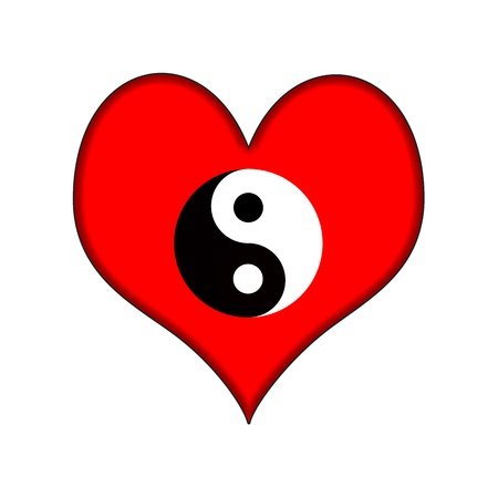Ying Yang Heart black white red photo
